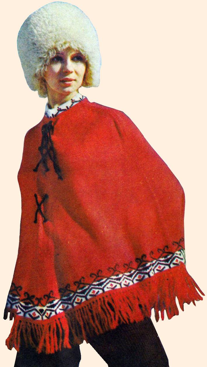 ПОНЧО из красной шерстяной пряжи